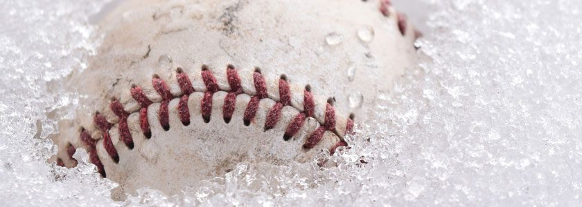 baseball in snow